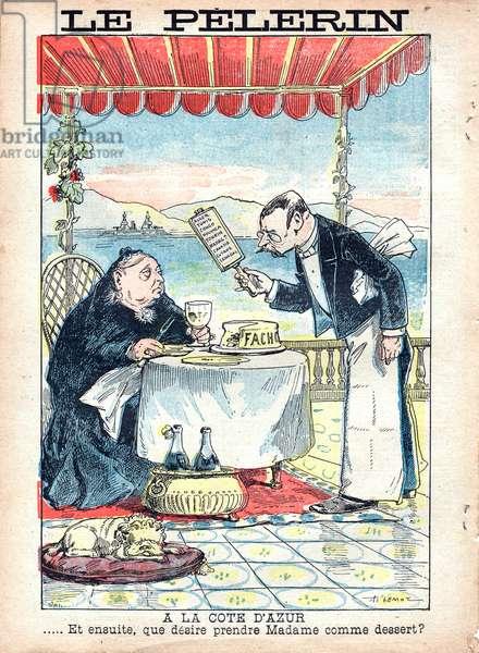 """""""A la Cote d'Azur"""", satirical drawing by A. Lemot in 1898"""