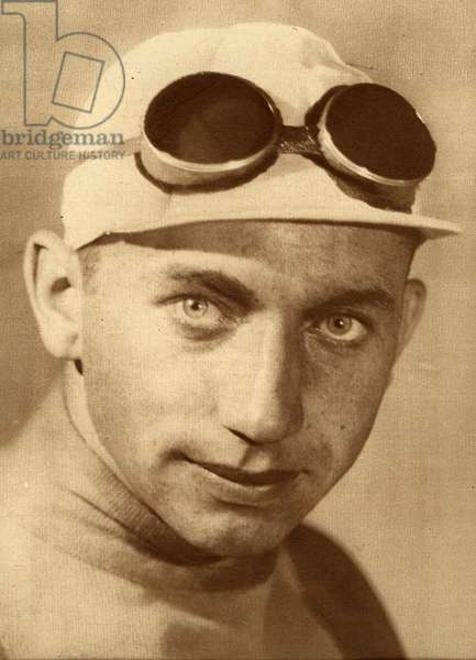 Kurt Stopel 1908 1997 German cyclist Professional from 1930 to 1938 First German to win a stage in the Tour de France Deuxieme du Tour de France 1932 behind Andre Leducq Photograph taken from the newspaper Match L Intran in 1932