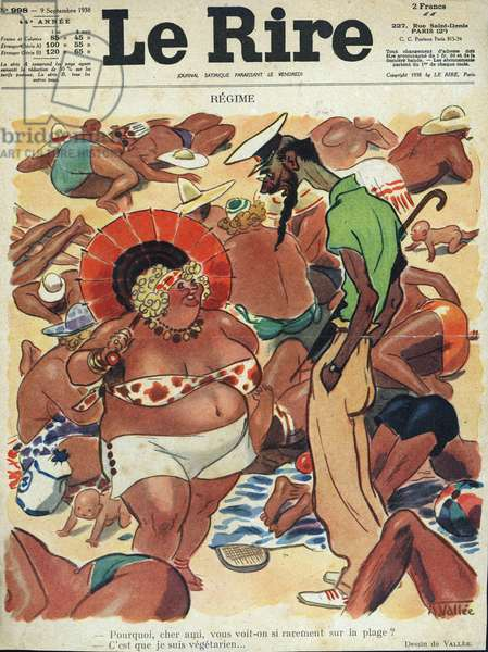 Vegetarian at the beach Draw de Vallee on the cover of the satirical magazine Le Rire in 1938