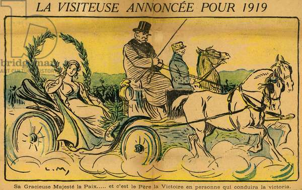Georges Clemenceau Leaving Peace for the Year 1919 Drawing by Lucien Metivet in the headline of the daily Le Journal du 31 December 1918