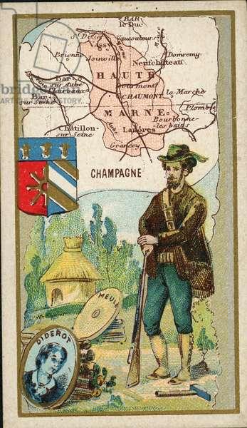 Map of the Haute Marne circa 1900