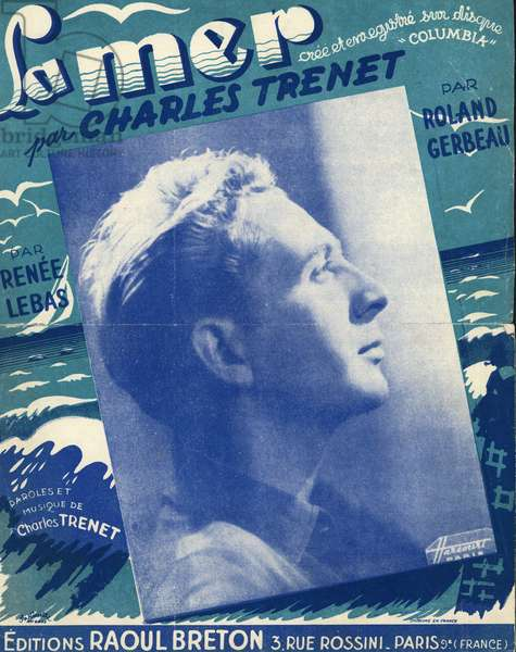 Charles Trenet 1913 2001 author composer interpret french musical sheet music for the song La mer 1945