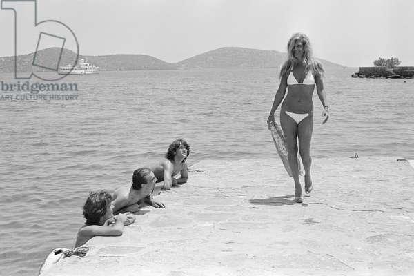 10 Juin 1980, Crete, Greece Singer Dalida on Vacation