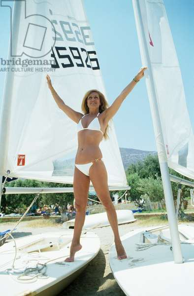 Singer Dalida on Vacation