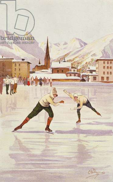 Skaters racing on the ice rink at Davos, Switzerland (colour litho)