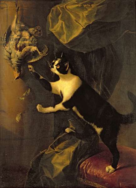 Cat and Dead Game (oil on canvas)