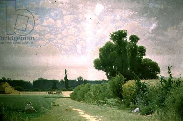 Landscape with a man resting by a path