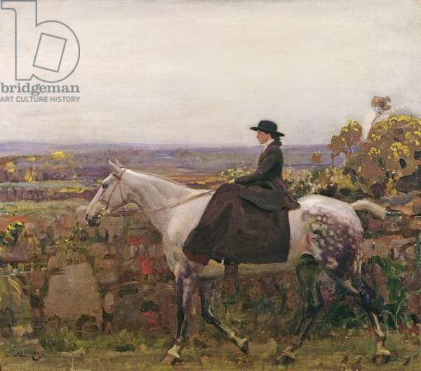 Lady Munnings at Zennor, Cornwall (oil on canvas)