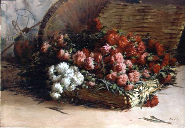 Still life of carnations in a basket