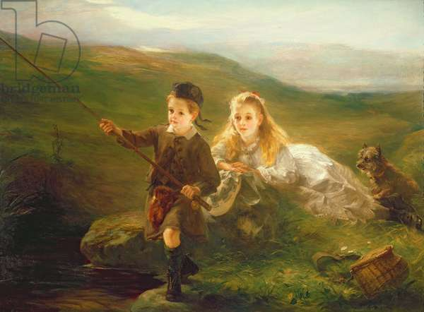 Two Children Fishing in Scotland