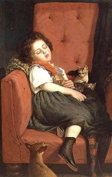 Girl sleeping with Kittens
