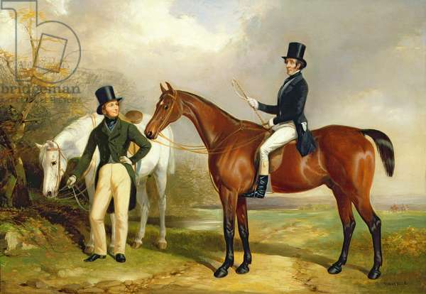 Two Gentlemen Out Hunting (oil on canvas)