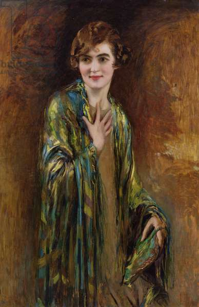 Portrait of a girl with a green shawl, c.1920