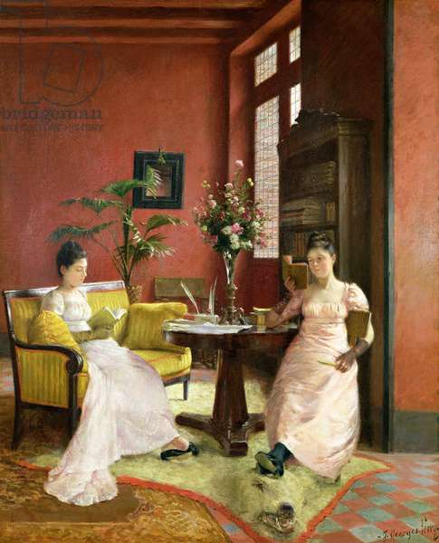 Two Women Reading in an Interior