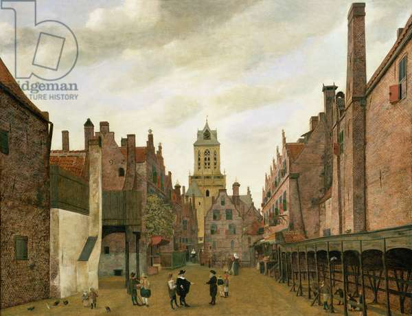 View of Boterbrug with the Tower of the Stadhuis, Delft, c.1653-59 (oil on panel)