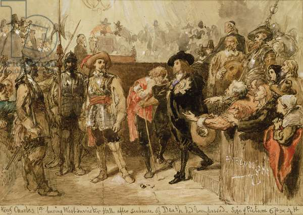 Charles I (1600-49) leaving Westminster Hall after the sentence of death had been passed, 1870 (w/c on paper)