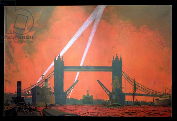 Pool of London during Dockland Air Raids, 1940, 1941 (oil on canvas)