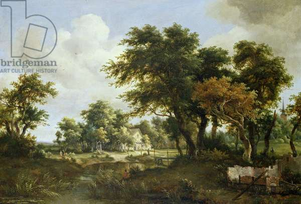 Wooded Landscape with the Ruins of a House, c.1663-64 (oil on panel)