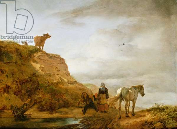 Landscape with a grey horse and figures by the wayside, c.1644-46 (oil on panel)