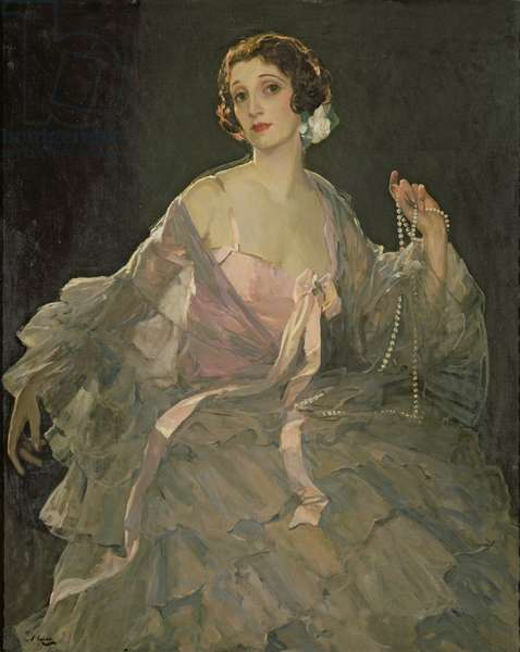 Hazel in Rose and Grey, 1922 (oil on canvas)