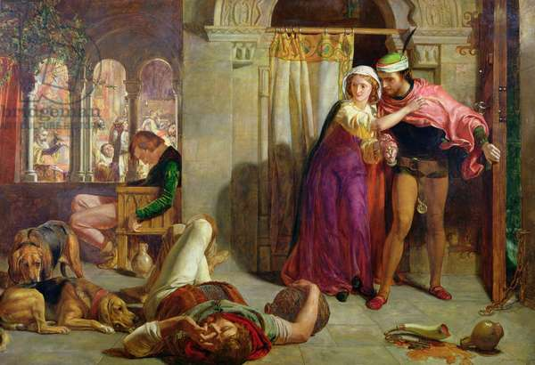 The Eve of St. Agnes, or The Flight of Madelaine and Porphyro during the Drunkenness attending the Revelry, 1848 (oil on canvas)