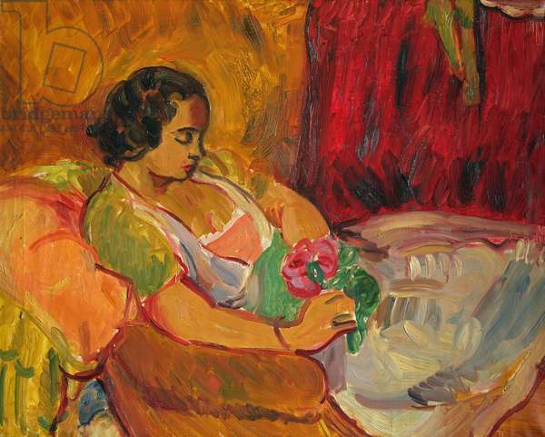 Lady with a Rose, c.1934-36 (oil on canvas)