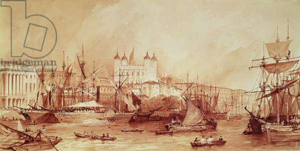 View of the Tower of London from the River Thames at Custom House, c.1840 (pen & ink and wash on paper)