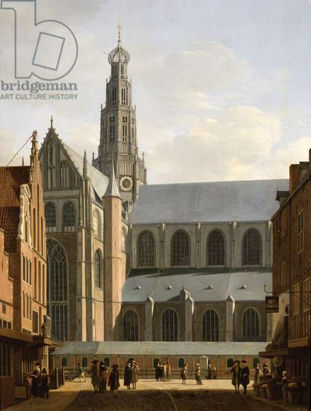 Smedestraat with a View of the Groote Market and St. Bavo's Church, Haarlem, 1660-70 (oil on panel)