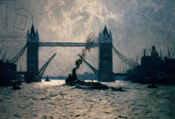 Towing Past the City, c.1962 (oil on canvas)