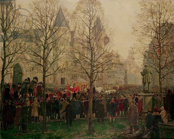 Lord Mayor's Procession arriving at the Law Courts, 1926 (oil on canvas)