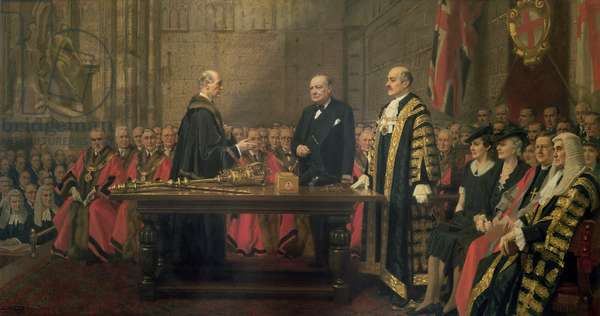 Presentation of the Freedom of the City to Winston Churchill (1874-1965) in the Guildhall, 30th June 1943 (oil on canvas)
