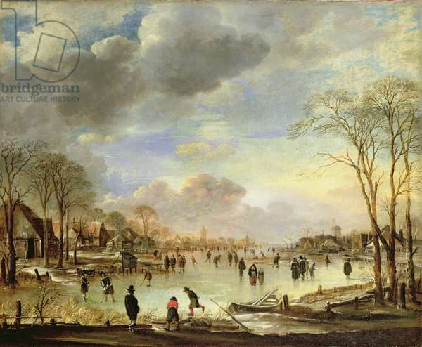 Winter landscape with figures on a frozen canal, c.1653-56 (oil on canvas)