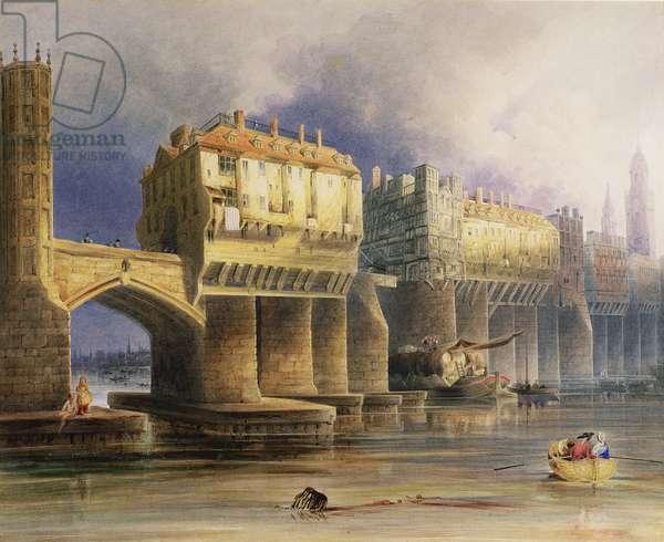 Old London Bridge in 1745, 1846 (oil on canvas)