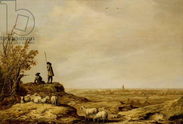 Panoramic Landscape with Shepherds, Sheep and a Town (Beverwijk) in the Distance, c.1641-44 (oil on panel)