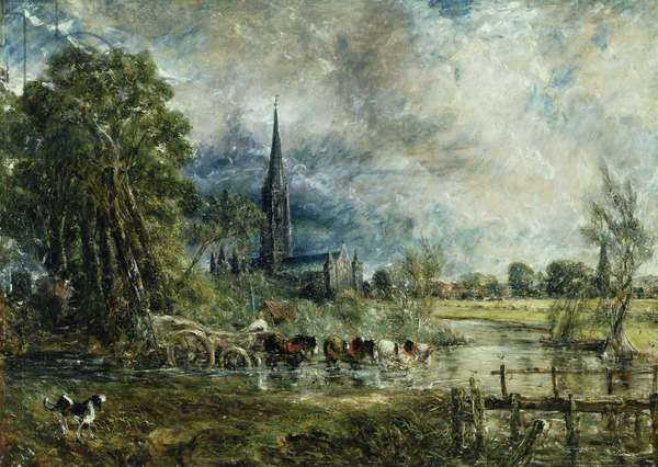 Salisbury Cathedral from the Meadows, 1829-31 (oil on canvas)
