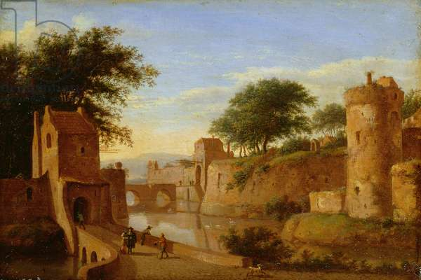 A Fortified Moat or Canal, c.1670 (oil on copper)