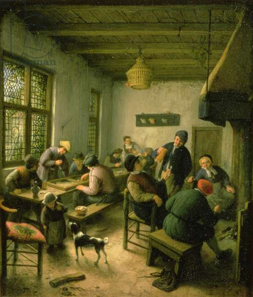 Village Inn with Backgammon and Card Players, 1674/75 (oil on panel)