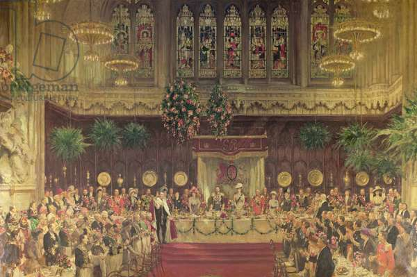 Coronation Luncheon for King George V and Queen Mary in Guildhall, 29th June 1911, 1914-22 (oil on canvas)