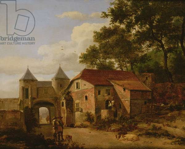 An Imaginary Town Gate with Triumphal Arch (oil on panel)