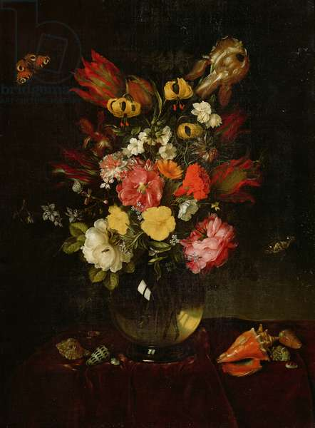 Vase and Flowers, 1655 (oil on canvas)