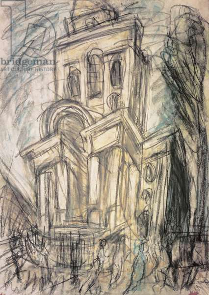 Christchurch, Spitalfields, No.2, 1991 (charcoal and pastel on paper)
