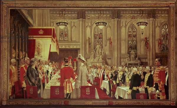 Coronation Lunch for George VI and Queen Elizabeth at Guildhall, 19th May 1937, 1937-38 (oil on canvas)