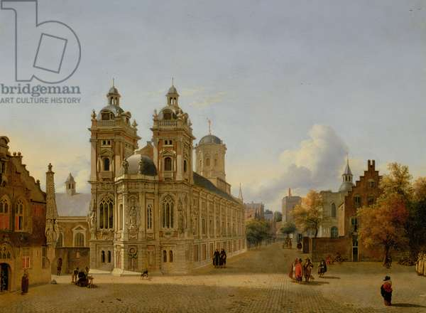 Cityscape with a Church and a Square, c.1666-69 (oil on metal)