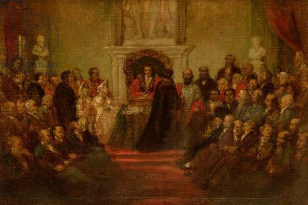 Presentation of the Freedom of the City to General Garibaldi (1807-82) April 20th 1864 (oil on canvas)