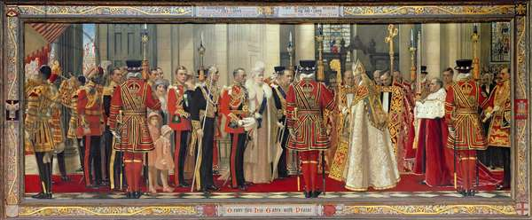 Reception of King George V and Queen Mary at St. Paul's Cathedral, 1935 (oil on canvas)