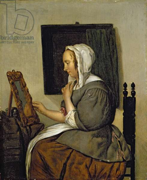 Young Woman at her Toilet (oil on panel)