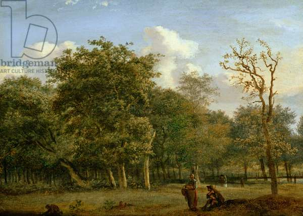 A Wooded Landscape with Figures, c.1668-72 (oil on panel)
