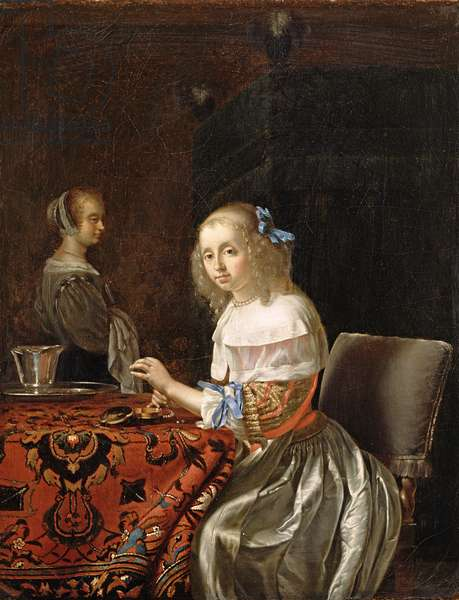 A Young Woman Stringing Pearls (oil on canvas)