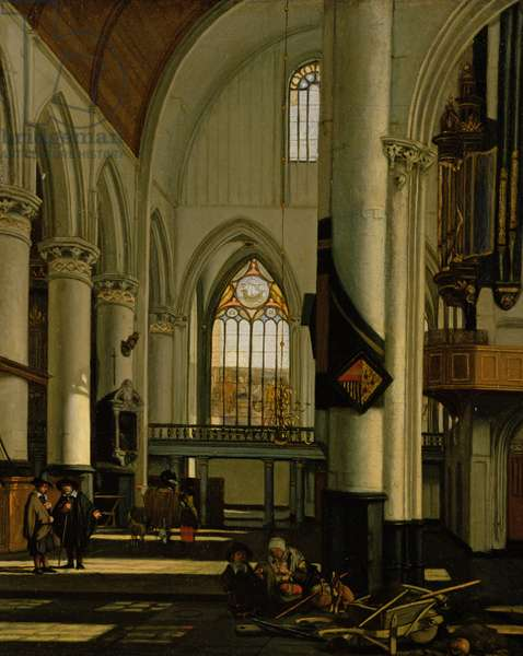 Interior of an Imaginary Protestant Gothic Church (oil on canvas)