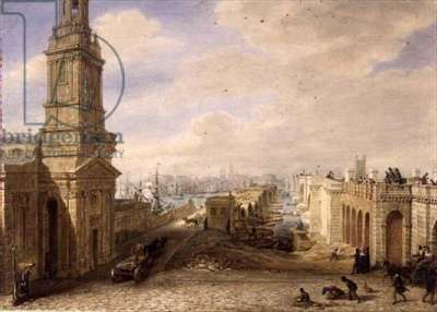 Old London Bridge with the construction of the new Bridge beside it, 1831 (w/c on paper)